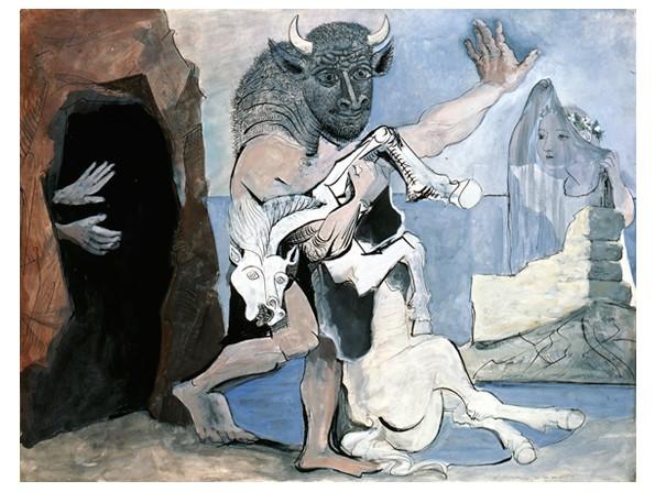 Minotaure et jument morte devant une grotte