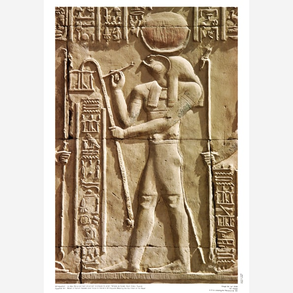 Relief of Falcon-Headed God Horus or Haroeris Writing and Wearing the Sun Disk on His Head