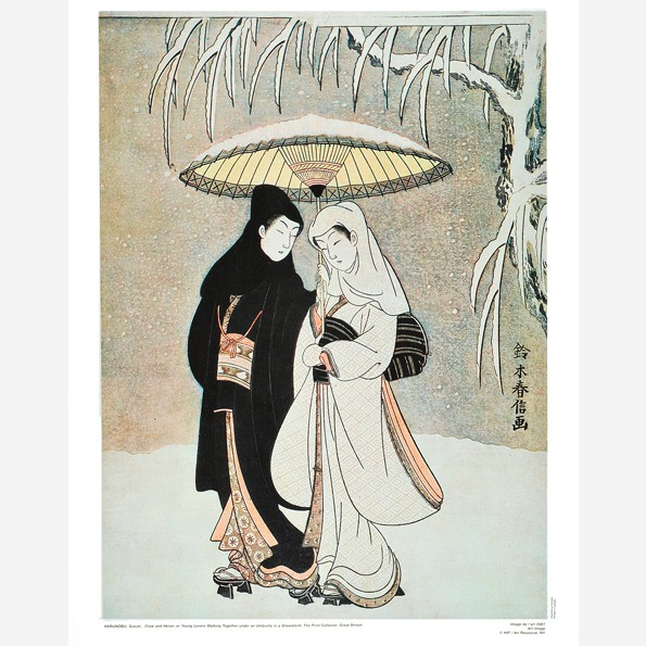 Crow and Heron, or Young Lovers Walking Together under an Umbrella in a Snowstorm