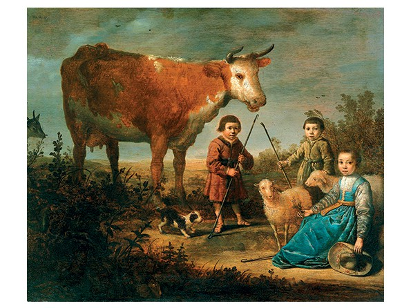 Children and a Cow