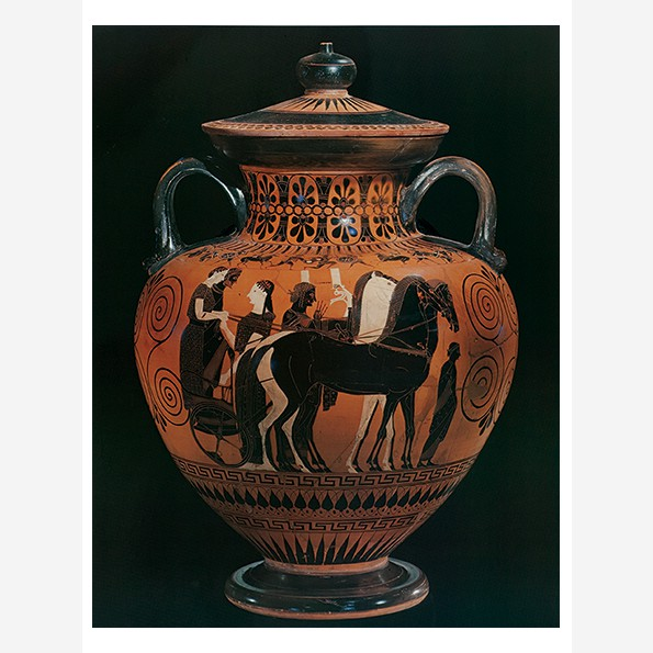 Neck-Amphora with Cover, Marriage Procession