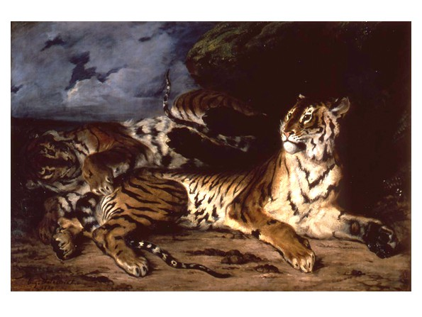 Jeune tigre jouant avec sa mère (Young Tiger Playing with Its Mother)